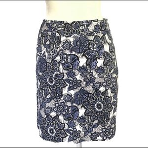LOFT Floral Paisley Lilac Shift Skirt w Pockets